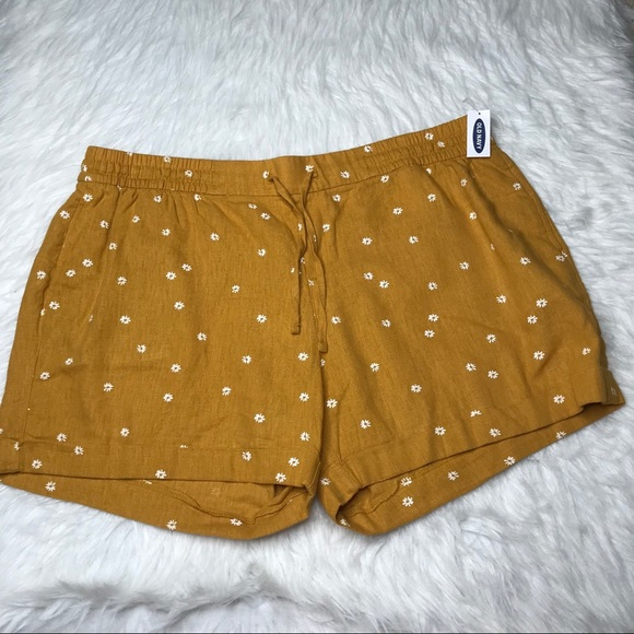 Old Navy Linen Blend Floral Shorts XL Yellow NEW